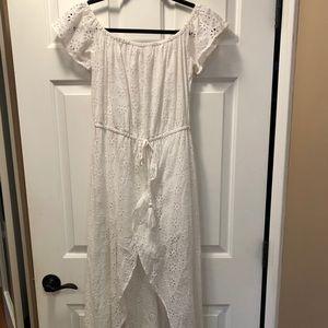 Elan White Hi Lo with Shorts Casual Maxi Dress, M